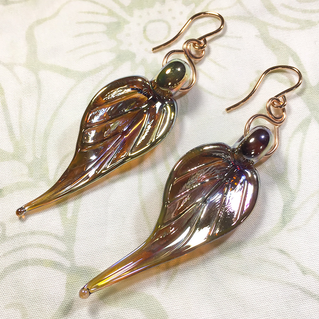 Rose gold-filled earrings with gold/amber metallic art glass leaf charms