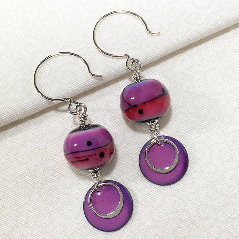 Sterling earrings with purple and pink art glass mod style art glass beads and purple enameled copper charms