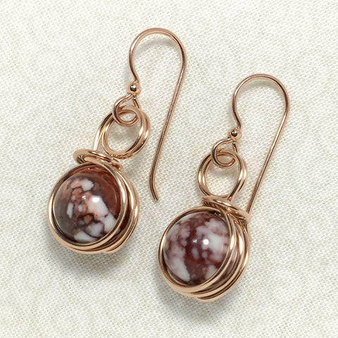 Rose gold-filled earrings with Wild Horse magnesite beads