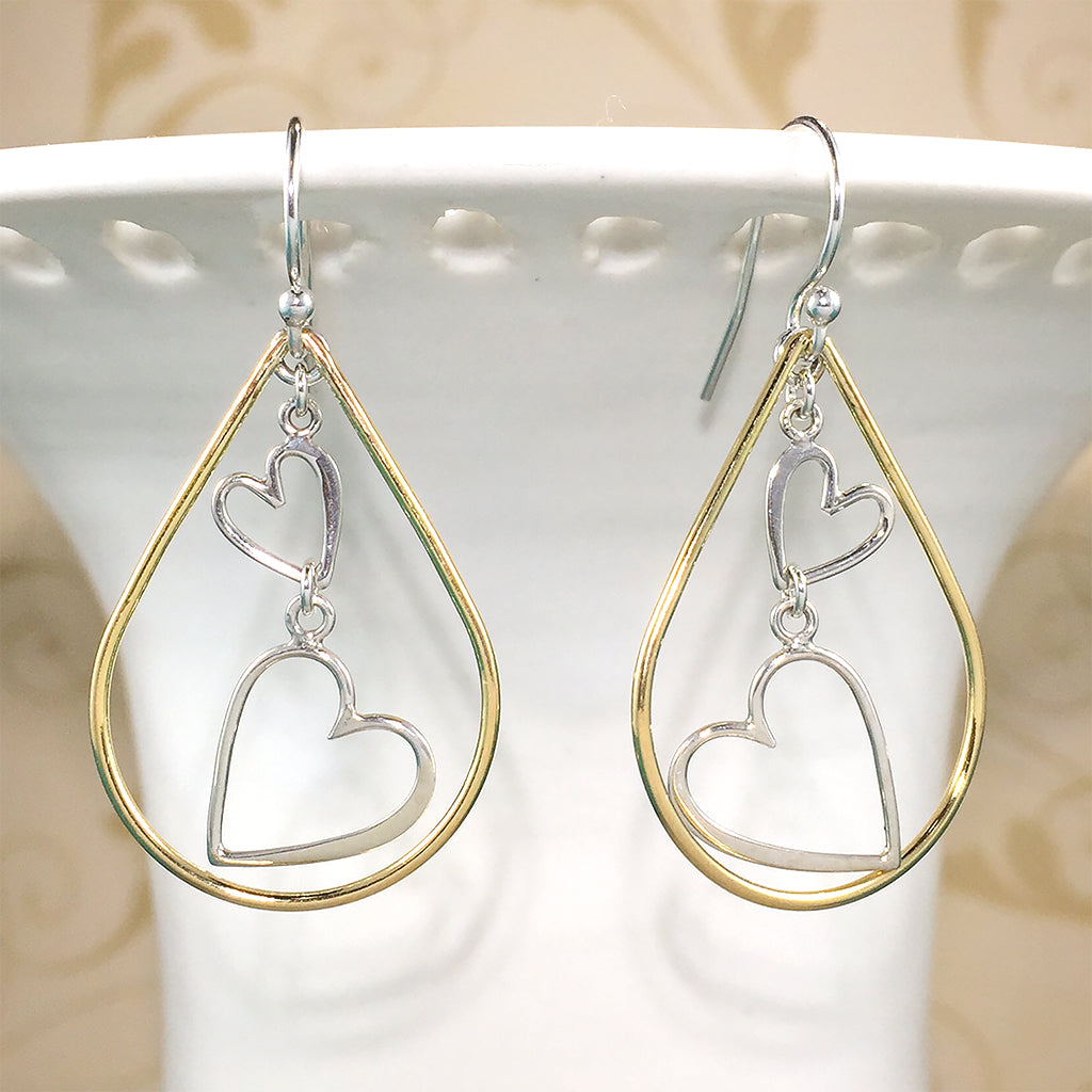 a18952a0b ... Mixed metal earrings with sterling heart charms and gold-filled  teardrops