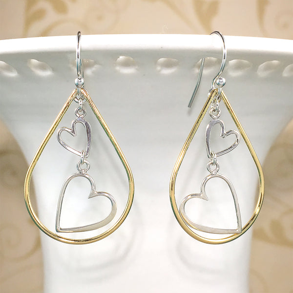 Mixed metal earrings with sterling heart charms and gold-filled teardrops