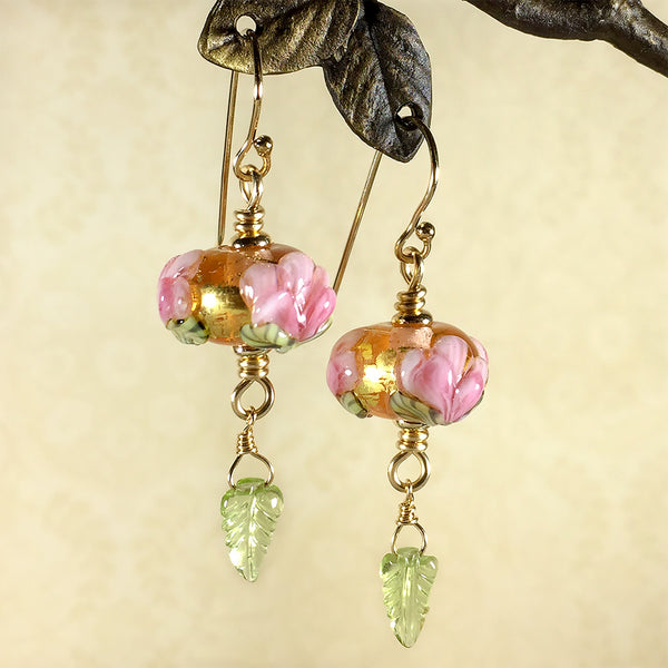 Gold-filled earrings with pink peony art glass beads and carved peridot leaves