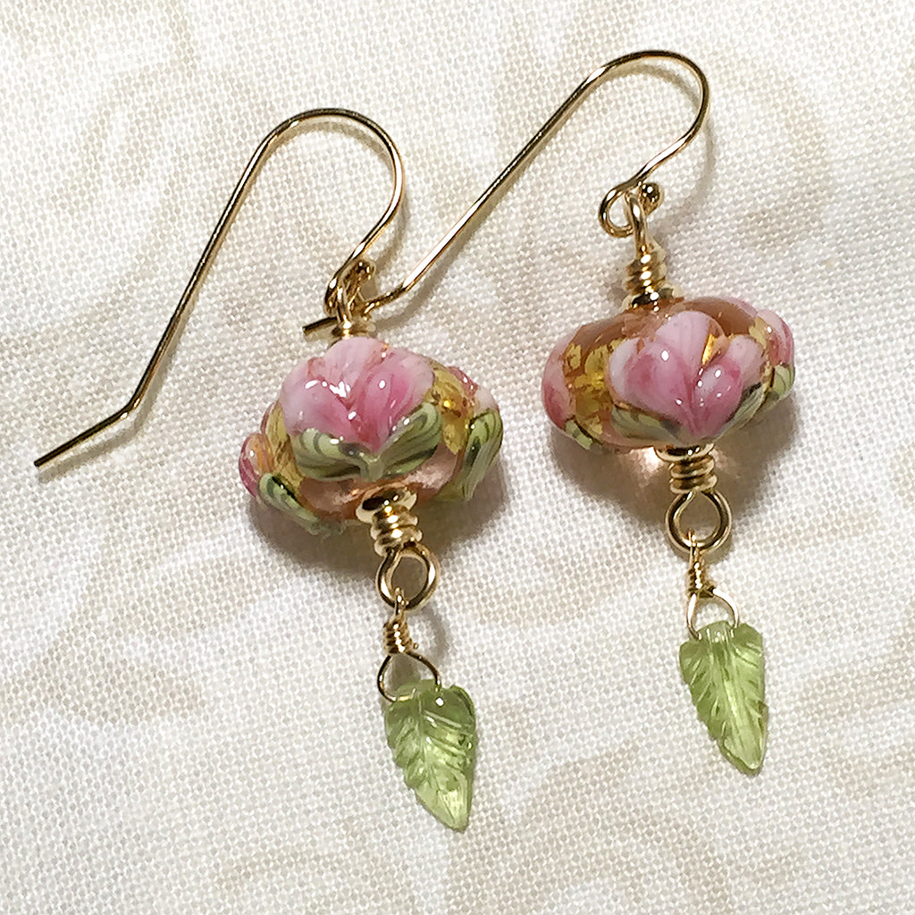 art glass pink with peony earrings and carved beads peridot gold rabbit elfin leaves filled products