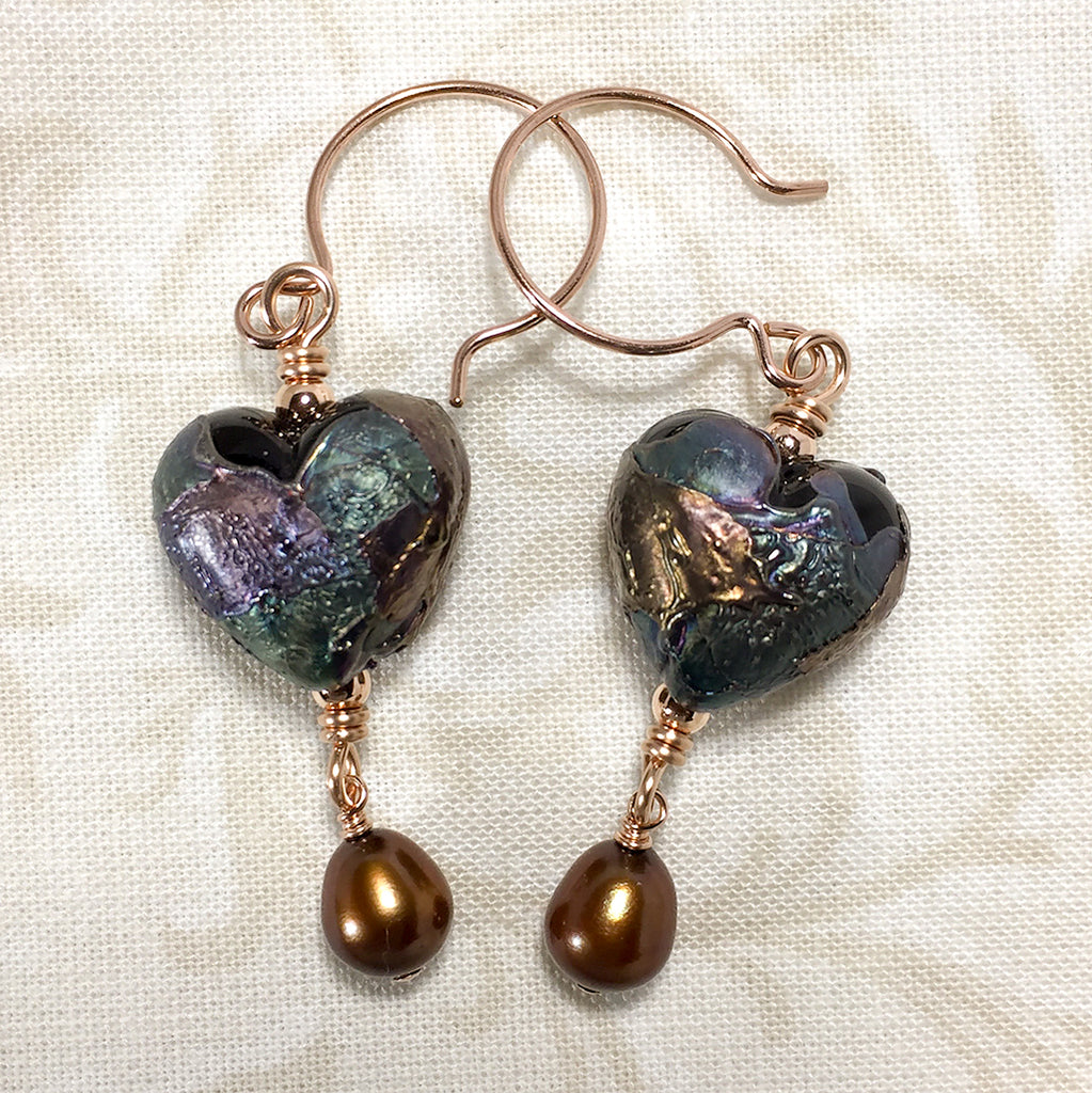 Rose gold-filled earrings with raku-like art glass heart beads and bronze freshwater pearls