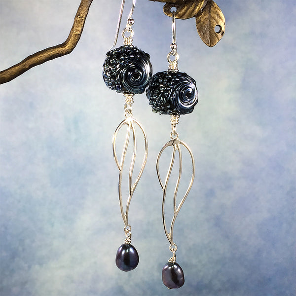 Sterling earrings with iridescent blue-black art glass beads and black freshwater pearls
