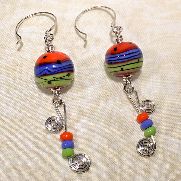 Sterling earrings with orange/blue/green mod style art glass beads and wire & bead spirals