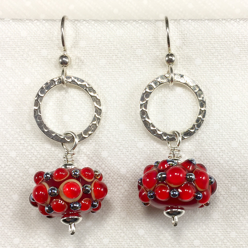 Sterling earrings with red art glass bubble beads and hammered silver rings