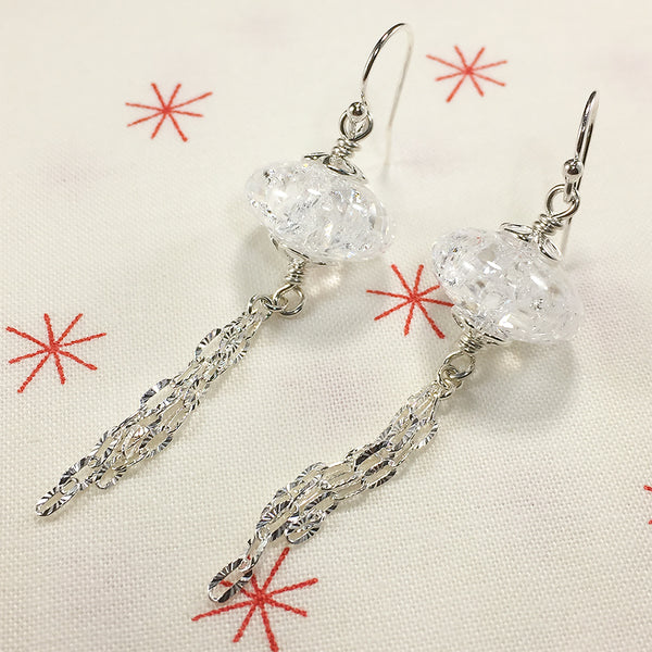 Sterling earrings with crackle quartz beads and silver chain tassels