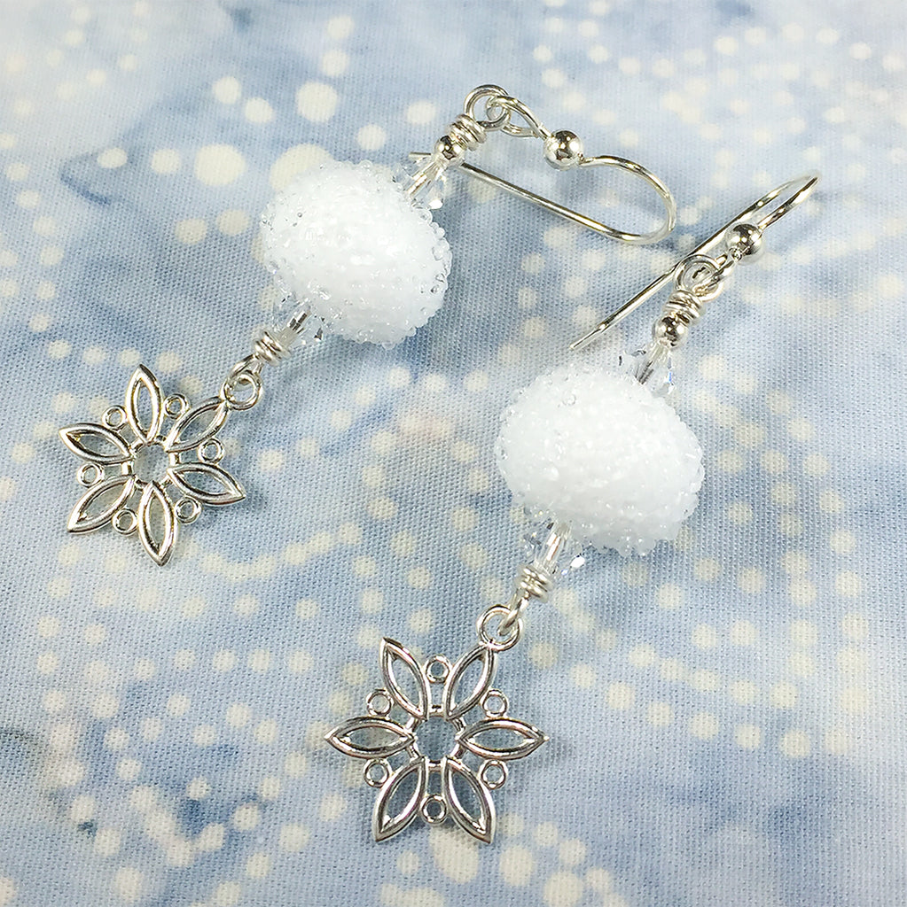 "Sterling earrings with ""snowball"" art glass beads and snowflake charms"
