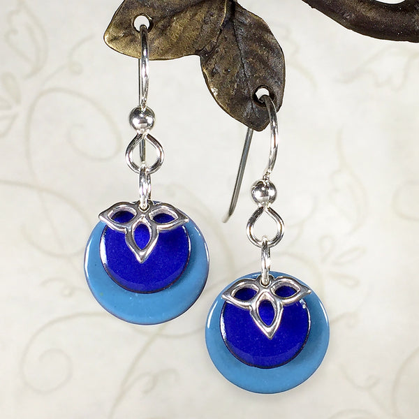 Sterling earrings with blue enameled copper charms and silver trillium charms