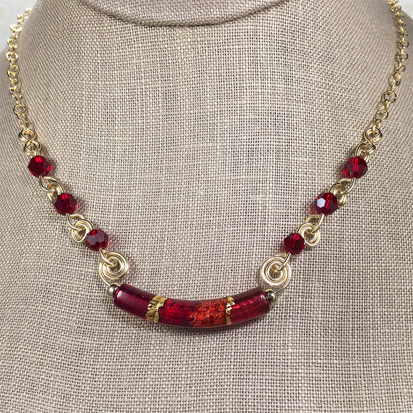 Valeria necklace with red and gold Venetian bead and gold spirals