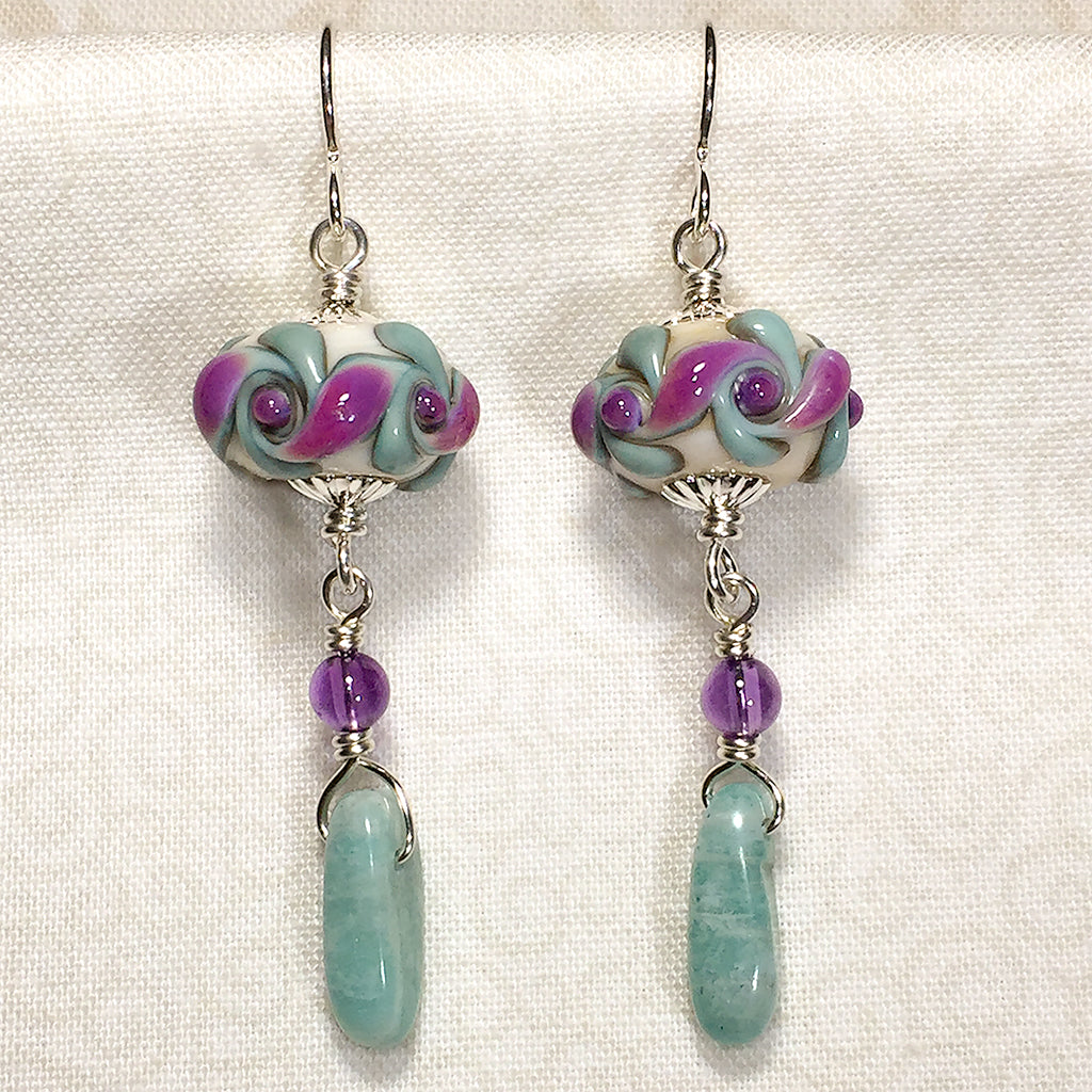 Sterling earrings with purple and aqua vortex pattern art glass beads, amethyst, and amazonite