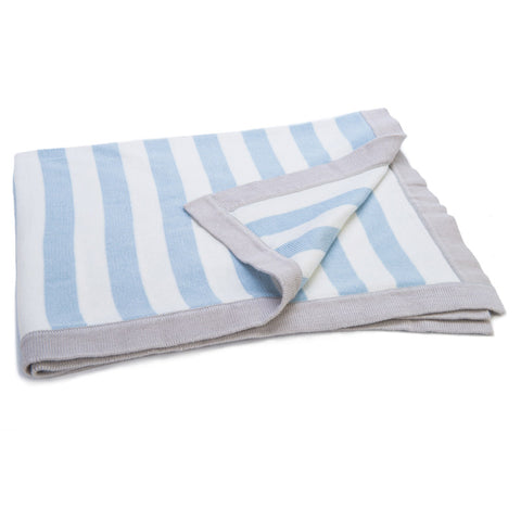 Personalised Cotton Knitted Blanket by Ragtails in Blue and Cream stripes