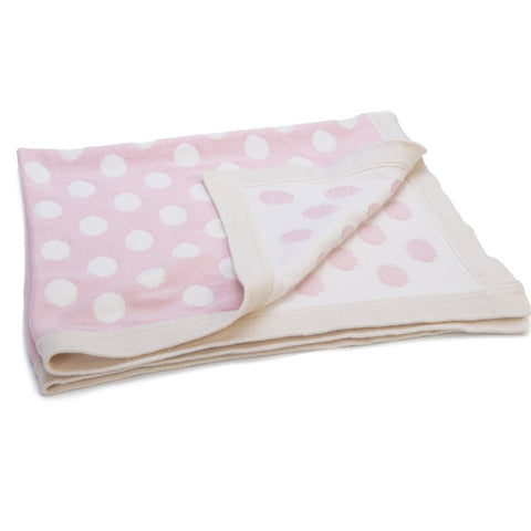 Personalised Cotton Knitted Blanket by Ragtails in Pink with Cream Spots