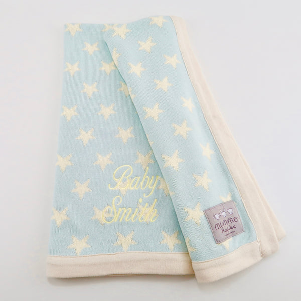 Personalised Cotton Knitted Blanket by Ragtails in Mint and Cream