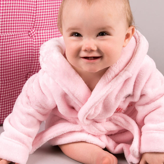 Personalised Baby Girls Dressing Gown With Soft Bear Ears Hood - 'Pink'