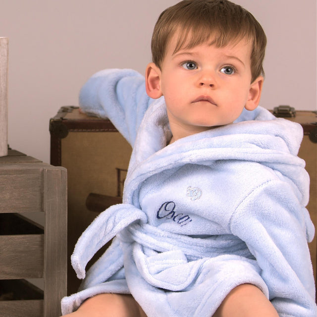 Personalised Baby Boys Dressing Gown With Soft Bear Ears Hood -  Blue  10c647755
