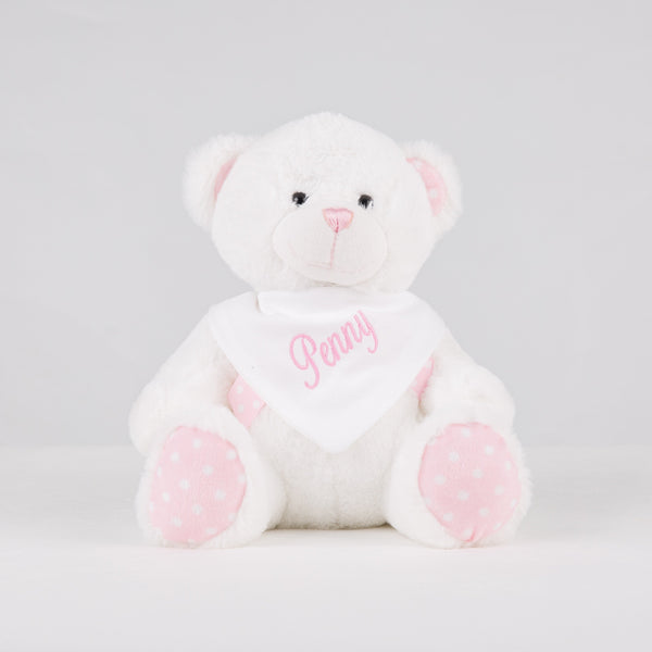 Personalised White Bear With Pink Polka Dot Ears