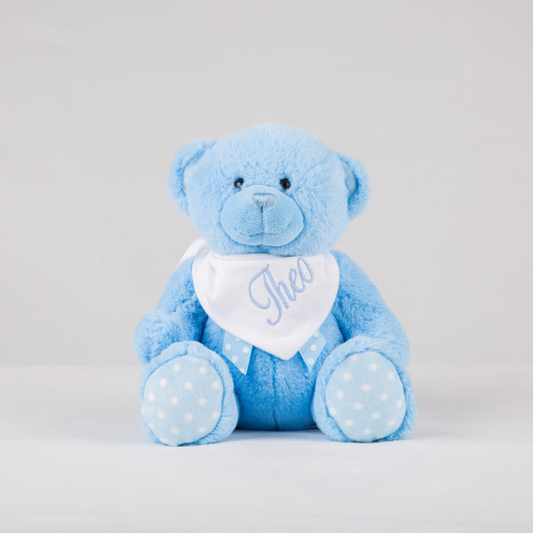 Personalised Blue Bear With Polka Dot Ears