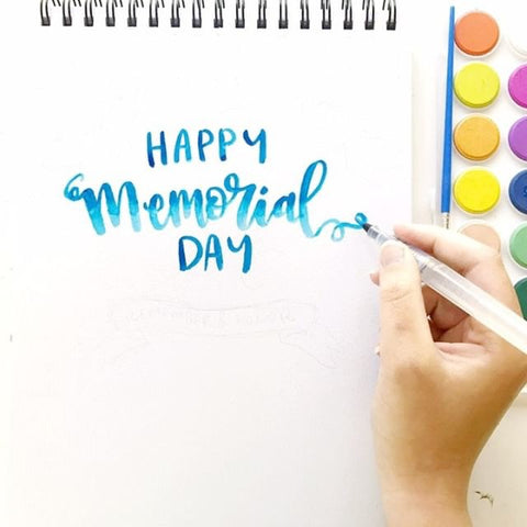blue memorial day lettering with kassa