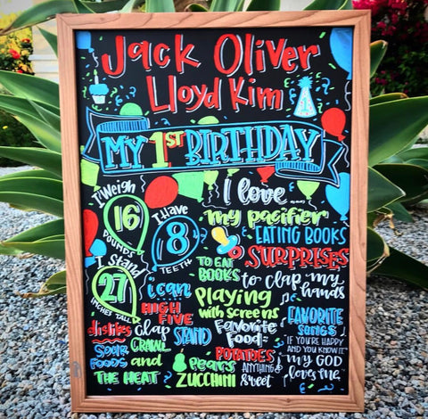 Birthday Party Milestone Chalkboard using Kassa Chalk Markers