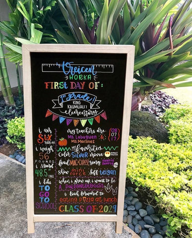 chalkboard sign for back to school with kassa chalk markers