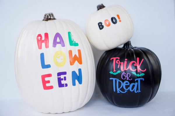 Halloween pumpkin decorations made using Kassa vinyl sheets