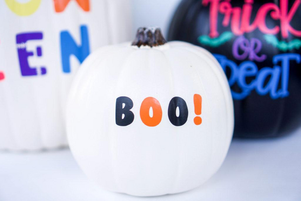 white pumpkin halloween decorations with Kassa Vinyl