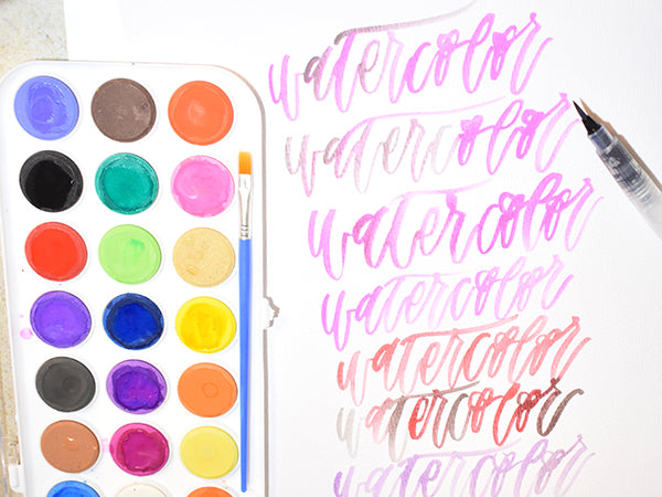 Watercolor set watercoloring lettering practice guide