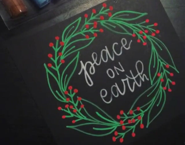kassa chalk markers calligraphy lettering christmas holiday decor wreath