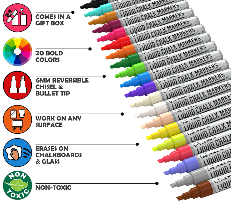 Chalk Markers Multicolor (20 Pack) Chalk Markers Kassa