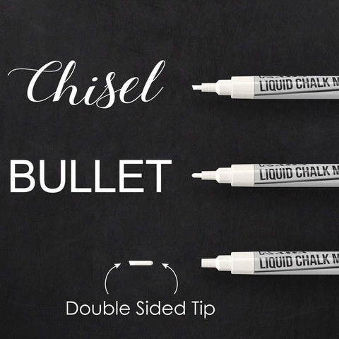 Fine Tip White Chalk Markers (4 Pack)