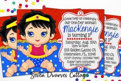 One-Der Woman First Birthday Printable Invitation - Seven Dwarves Cottage