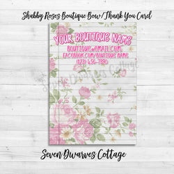 Shabby Chic Roses Boutique Bow Thank You Card Printable - Seven Dwarves Cottage