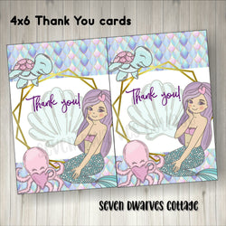 Mermaid and Friends Boutique Thank You Bow Cards - Seven Dwarves Cottage