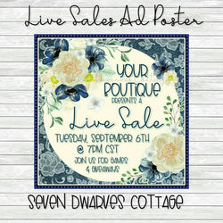 Denim and Floral Live Sale Boutique Poster - Seven Dwarves Cottage