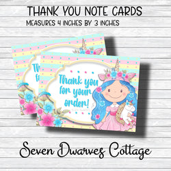 Unicorn Cutie Dreamer Thank You Note Cards - Seven Dwarves Cottage