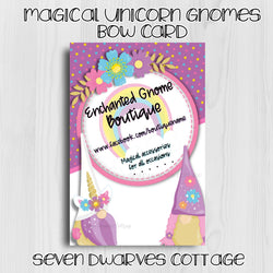 Magical Unicorn Gnomes Bow Card Thank You Note - Seven Dwarves Cottage