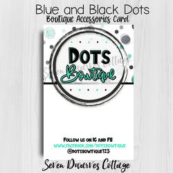 Blue and Black Dots Boutique Accessories Thank You Note Card - Seven Dwarves Cottage