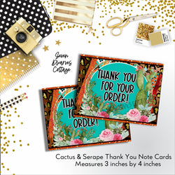 Cactus & Serape Thank You Note Cards Printable - Seven Dwarves Cottage