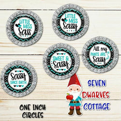 Sassy Sayings in Teal and Black One Inch Bottle Cap Circle - Seven Dwarves Cottage