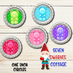 Rainbow Gummy Bear Candy One Inch Bottle Cap Sheet - Seven Dwarves Cottage