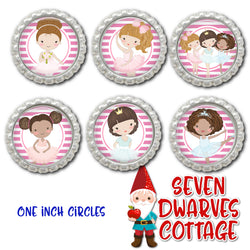 Pretty in Pink Ballerinas One Inch Bottle Cap Circles - Seven Dwarves Cottage