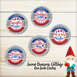 Glitter 4th of July Sayings, Firecracker, One Inch Bottle Cap - Seven Dwarves Cottage