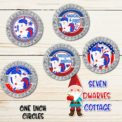 4th of July Magical Unicorns 4x6 One Inch Bottlecap Circles - Freedom is Magical Bottlecap - Seven Dwarves Cottage