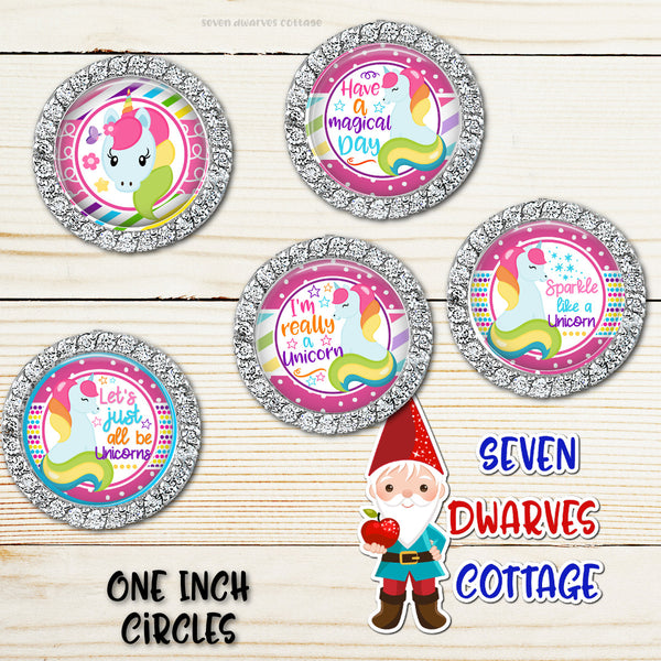 Magical Unicorn Rainbow Sayings One Inch Bottle Cap - Seven Dwarves Cottage