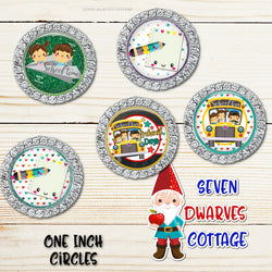 Kawaii School Days Back to School One Inch Circles Bottle Cap - Seven Dwarves Cottage