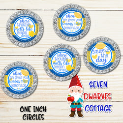 Lemons Inspirational Sayings in Blue and Yellow One Inch Circles Bottlecap - Seven Dwarves Cottage
