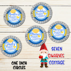 Lemons Family Main Squeeze Blue and Yellow One Inch Circles Bottle Cap - Seven Dwarves Cottage