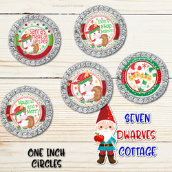 Festive Christmas Elf Unicorn Sayings One Inch Circles Bottle Cap Sheets - Seven Dwarves Cottage